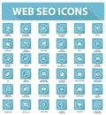 Web lisa seo icons versão azul Fotografia de Stock Royalty Free