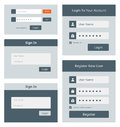 Web login user interface set vector of and account registration form design isolated on white background Stock Photos