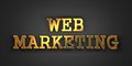 Web marketing business concept gold text on dark background d render Stock Photo