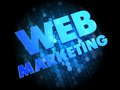 Web marketing on dark digital background blue color text Stock Photography