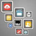 Web media icons in square blocks Stock Photo
