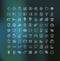 Web and Mobile icon set in white outline Stock Images