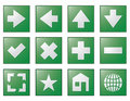Web navigation buttons green Stock Photography