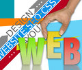 Web network concept design on colorful background Royalty Free Stock Photo