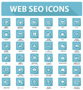 Web plat seo icons version bleue Photographie stock libre de droits
