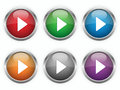 Web play buttons six colors Stock Images