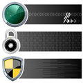 Web security horizontal banners a collection of three with round radar screen icon a padlock and a yellow and black shield on Royalty Free Stock Photography
