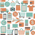Web shopping pattern seamless with icons Stock Photo