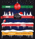 Web site christmas elements winter header and navigation templates set Stock Photos