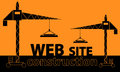 Web site construction illustration of couple cranes building text over orange background Stock Photography