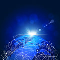Web technology concept network global connections dark blue background Stock Images