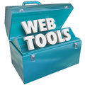 Web tools toolbox online website developer kit blue metal with words in it to illustrate development coding or programming and Stock Photo