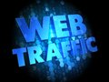 Web traffic on dark digital background blue color text Stock Photography