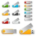 Web usb flash drives different colors with spined off cup template for corporate identity Royalty Free Stock Image