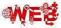 Web Various Symbols Red