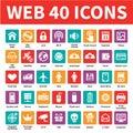 Web 40 Vector Icons Royalty Free Stock Photo