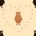Web vector seamless pattern with brown and ginger owlets Stock Photos