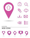 Webicons with pointers web icons different shaes of Stock Photos