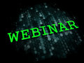 Webinar business educational concept the word in light green color on dark digital background Royalty Free Stock Photo