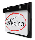Webinar calendar day date reminder online seminar learning sessi word on a page to invite or remind you of a special or Stock Image