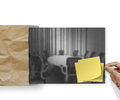 Webinar with crumpled paper background as concept and blank sticky note on envelope Stock Photos
