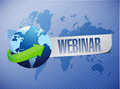 Webinar globe concept illustration design over a world map background Stock Images