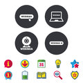 Webinar icons. Web camera and notebook pc signs. Royalty Free Stock Photo