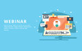 Webinar, internet conference, web based seminar flat design concept