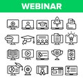Webinar, Online Education Vector Linear Icons Set