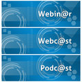 Webinar webcast podcast business theme background a set of techy style style with text on it Stock Photo