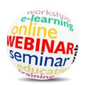 Webinar word cloud as colored word sphere new top trend Stock Photography