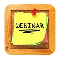 Webinar yellow sticker on bulletin cork or message board business concept d render Stock Image