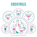 Website Banner and Landing Page of Cocktails. Royalty Free Stock Photo