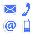 Website contact icons stickers and internet us set and design symbols on blue with shadow eps vector illustration isolated on Royalty Free Stock Images