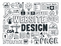 Website design doodle elements hand drawn vector illustration icons set of and user interface programming doodles isolated on Stock Photos