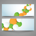 Website header or banner for indian republic day and independence day set with paper circles in national flag color celebration Stock Images