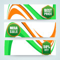 Website header or banner for indian republic day sale set with off on occasion of celebration Royalty Free Stock Photos