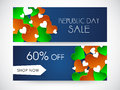 Website header or banner of sale for indian republic day set with off and hearts in national flag colors celebrations Stock Photo