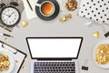 Website header design with laptop computer and feminine glamour business objects
