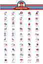 50 Website icon set,Red and blue version Royalty Free Stock Photo
