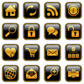 Website and internet icons, golden series Royalty Free Stock Photo