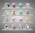 Website Internet Icons ,Transparent Glass Button Royalty Free Stock Image