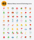 Website media inter net technology icons colorful version concept Royalty Free Stock Images
