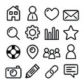 Website menu navigation line icons - home, search, email, gallery, blog Royalty Free Stock Photo