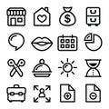Website menu navigation line icons - online shop, web page Royalty Free Stock Photo