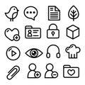 Website menu navigation line icons - social media, blog, web page Royalty Free Stock Photo