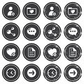 Website navigation icons on retro labels set Royalty Free Stock Photo
