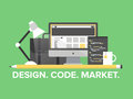 Website programming management flat illustration design style modern vector concept of web page and webpage coding user interface Royalty Free Stock Photo