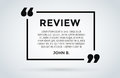 Website review quote citation blank template vector icon comment customer circle paper information text chat citing Royalty Free Stock Photo