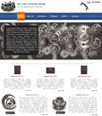 Website template design along with icons and images gears related Royalty Free Stock Photography
